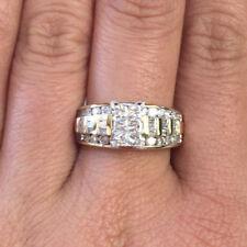 10k Gold Princess Round Baguette Diamond Multi Row Engagement Anniversary Ring