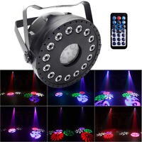 RGB 15 LED Pattern Stage Light Remote Strobe Wash Projector DMX Party Disco Club