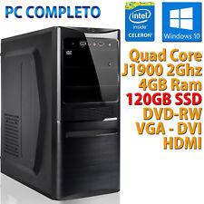 PC COMPUTER DESKTOP NUOVO ASSEMBLATO WINDOWS 10 PRO QUAD CORE RAM 4GB SSD 120GB