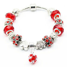 Silver Charm Bracelet W/ Red European Glass, Crystal & Silver Beads Charms