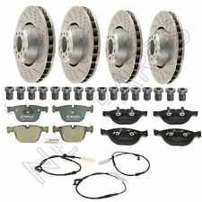 For BMW E60 E63 Front & Rear Brake Rotors & Pads w/ Sensors & Screws Kit