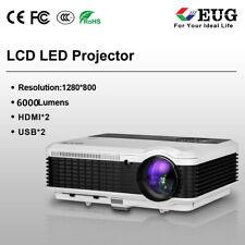 6000Lumens EUG LED 1080p Projector Big Screen Movie DVD Multimedia VGA HDMI USB