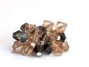 CRYSTAL COCKTAIL RING CLUSTER RING CHA CHA CZECH GLASS silver plate PINK GREY