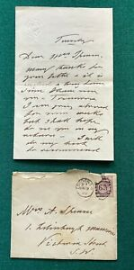 Antique Signed Letter Posted QV Envelope Prince Wales King Edward 1890 Turf Club