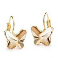 New Made With Genuine Swarovski Crystal Champagne Gold Plated Butterfly Earrings