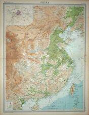 """1920 Large Map ~ China ~ Inset Peking ~ 23"""" x 18"""""""