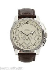 GUESS BROWN CROC LEATHER BAND+SILVER,BEIGE DIAL+CHRONO+TACHYMETER WATCH-U13570G2