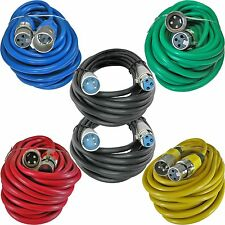 6 25ft foot colored 3pin male to female XLR mic microphone extension cables cord