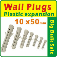 100 X Wall Plugs Plastic Expansion 10mm X 50mm Postage