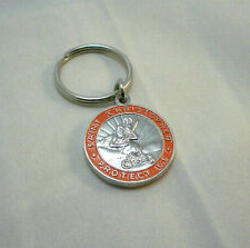 St Christopher Rides Harley Motorcycle Key Chain Medal Orange