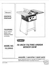 Sears Craftsman  Table Saw Manual Model # 113.29943