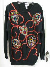VTG 80's Joyce Sweater SZ L Embroidered Beaded Sequins Pearls Embellished Black
