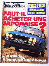 >L'AUTO-JOURNAL n°03 du 02/1977  Rallye Monte Carlo/ Essai Honda Accord / Fiat 1