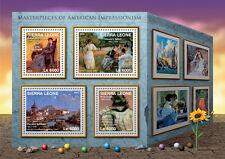 Sierra leone 2016 neuf sans charnière american impressionnisme 4v m/s merritt chase art stamps