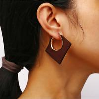 Vintage Log Geometry Square Hoop Circle Earrings Fashion Women Wedding Jewelry