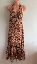 KAREN MILLEN STUNNING BROWN LEOPARD PRINT & TURQUOISE BROOCH SILK DRESS SIZE 8