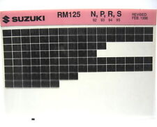 Suzuki RM125 1992 - 1995 Parts Microfiche s184