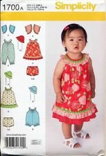 SIMPLICITY SEWING PATTERN 1700 BABY XXS-L DRESS JUMPSUIT ROMPER  NAPPY COVER HAT