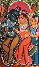 Original Kalighat patachitra Indian peinture Dieux Hindous Krishna Indian Folk Art