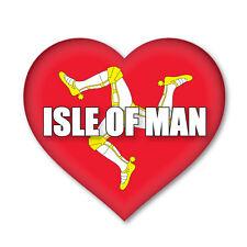 2 X Isle De Man/MANX cœur drapeau, Voiture, Van Autocollant Sticker