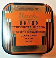 #97. VTG ART DECO GRAPHICS BUCKI BRAND D&D TYPEWRITER RIBBON TIN