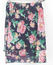 Lauren Ralph Lauren NWT $129 Sz 12 Navy Pink Green Multi Tiered Silk Skirt B106