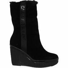 Calvin Klein Jeans Women's Black Suede Wedged Boots: uk6 / eu39, rrp: £159