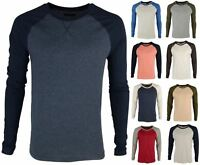 Brave Soul 'Osbourne' Men's Long Sleeve T-Shirt Baseball Style Raglan Top