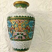 "Jingfa Cloisonne Vase w Label 4"" Tall Raised Floral Enameling Flowers Blue Pink"