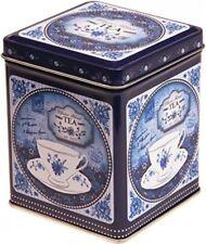 China Blue Retro Vintage Style Hinged Lid Tea Caddy Kitchen Storage Tin 200g