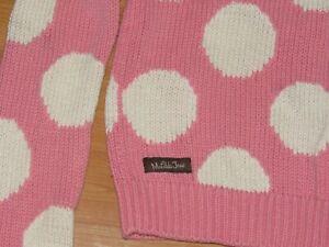 MATILDA JANE Girls Sz 10 Cardigan Sweater Pink White Polka Dot Cotton Blend