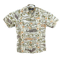 Reyn Spooner Mens Small Hawaiian Button Up Shirt Cotton Fishing Short Sleeve