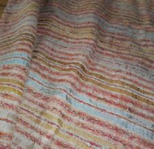 Rare Antique 19thc French Loom Woven Silk Cotton Textile Fabric ~ Salmon Ochre