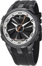 Perrelet Men's Turbine XL Black Dial Black Rubber Strap Automatic Watch A1051/4