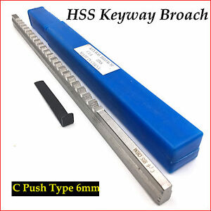 Keyway Broach 6mm Cutter C Push Type Metric Size HSS with Shim