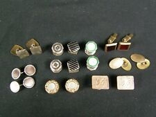 9 Pairs Antique Edwardian Gold Filled & Vtg Enamel Art Deco Cufflinks Kum-a-Part