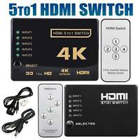 5 To 1 HDMI Splitter Selector Switch Full HD 1080p 3D 2K 4K IR Remote Hub USA