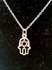 Hamsa Hand with star Pendant Silver Necklace -  Luck Charm Symbol
