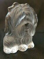 Vintage Viking Frosted Glass terrier Dog paperweight figurine Bookend