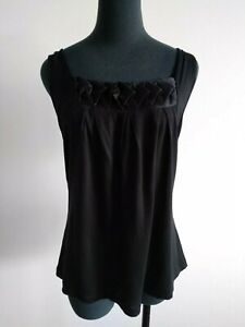 David lawrence Black Tank Top cotton silk trim Summer Blouse Sleeveless M AU 10