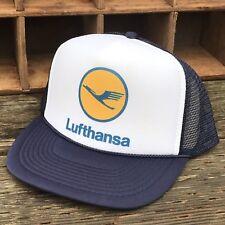 Lufthansa German Airlines Vintage Style 80's Trucker Hat Snapback Mesh Navy Blue