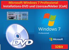 Microsoft Windows 7 Professional 32Bit Lizenz + CD DVD x86 Deutsch Prof Pro CoA