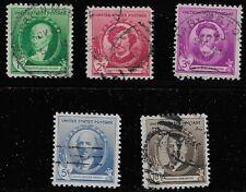 US Scott #884-88, Singles 1940 Complete Set FVF Used
