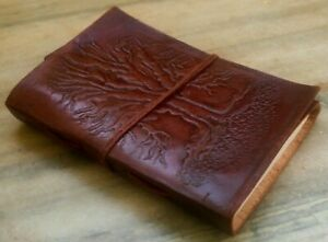 Tree of Life Embossed Leather Bound Notebook, Leather Journal, Handmade Diary