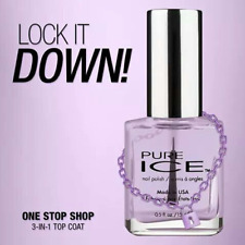 Pure Ice Nail Polish * One Stop Shop * 3 in 1 Top Coat Made in USA FREE SHIPPING