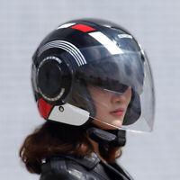 Motorcycle Dual Lens 3/4 Open Face Flip Up Helmet Full Face Shield Visor #6
