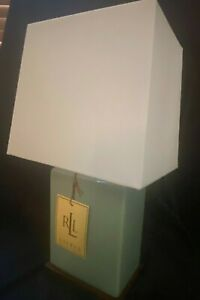 RALPH LAUREN TABLE LAMP & SHADE TEAL CRACKLE FINISH WHITE SHADE PORCELAIN  NWT