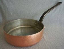 "DEHILLERIN Copper SKILLET / FRY PAN - 11"" - Hand Hammered - Cast Iron Handle"