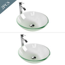 2x Round Bathroom Tempered Glass Vessel Sink Drain Faucet Combo Frosted Color