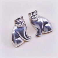 Vtg Sterling Silver Handmade Earrings, 925 Silver Cat Kitty Studs, Silver Tested